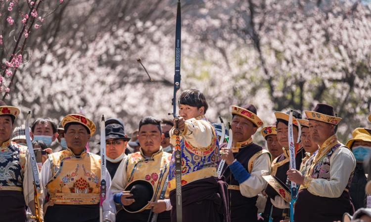 工布响箭:桃花树下的欢乐竞技