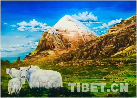 黄家林油画作品展现西藏人民幸福生活