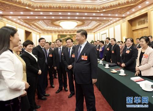 习近平李克强王沪宁韩正分别参加全国人大会议代表团审议
