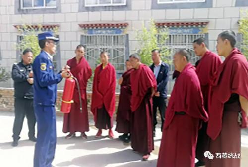 桑珠孜区俄尔寺管委会组织开展消防演练活动