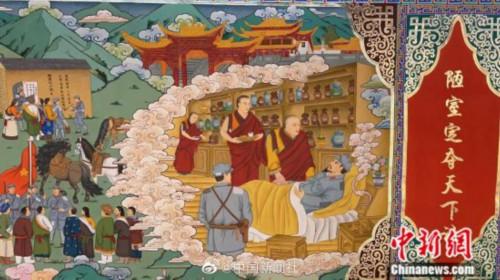 震撼!画师创作百米红色文化主题巨幅唐卡