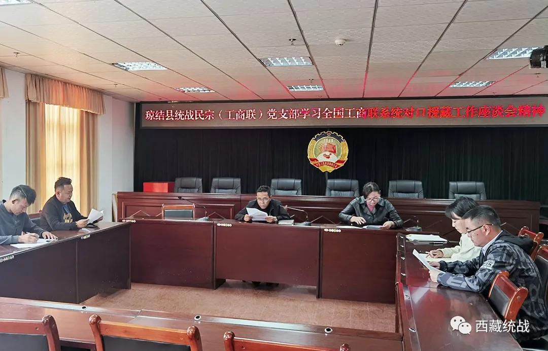 琼结县统战领域组织学习全国工商联系统对口援藏工作座谈会精神